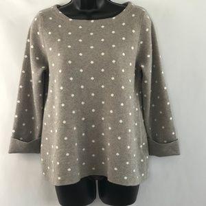Cynthia Rowley Gray Sweater With White Polka Dots